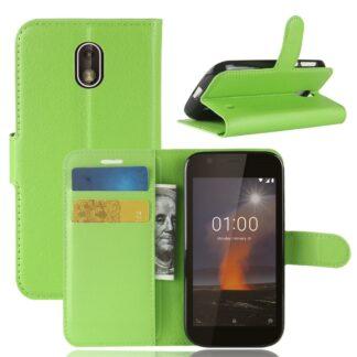 Nokia 1 - Læder cover / pung - Grøn