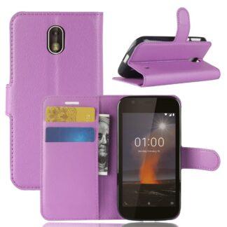 Nokia 1 - Læder cover / pung - Lilla
