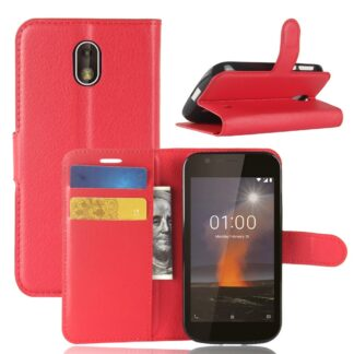Nokia 1 - Læder cover / pung - Rød