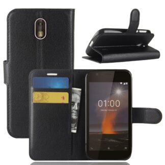 Nokia 1 - Læder cover / pung - Sort