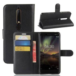 Nokia 6/6.1 (2018) - Læder cover / pung - Sort