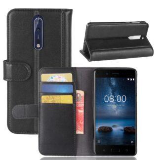 Nokia 8 - Ægte læder cover / Pung - Sort