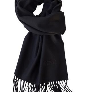 Sort klassisk tørklæde i 100% blød lambswool