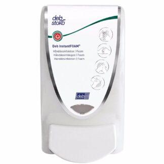 Deb Stoko InstantFOAM dispenser til hånddesinficerende skum, hvid plast m. hvid knap, 1 L