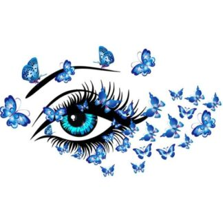 Flot wallsticker med et smukt kvindeøje omgivet af sommerfugle.