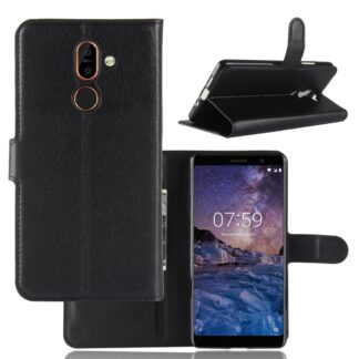 Nokia 7 Plus - Læder pung / cover - Sort