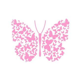 Flot stor sommerfugl wallsticker med mange små sommerfugle. Pink