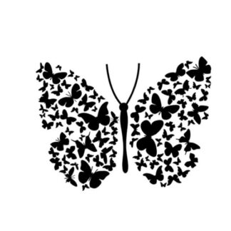 Flot stor sommerfugl wallsticker med mange små sommerfugle. Sort