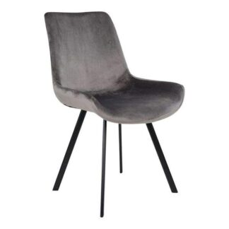 House Nordic - Drammen Spisebordsstol-grå velour SORT/TRÆ