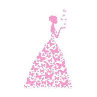 Pige med sommerfuglekjole wallsticker. 89x58 cm. Pink.