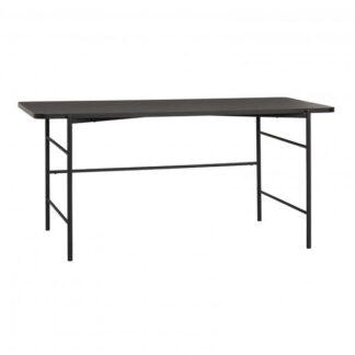 Skrivebord, metal/træ, sort Grå