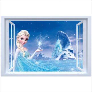 Flot Frost wallsticker. Vindue med Elsa. 70x50cm.