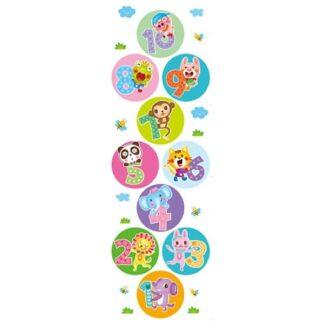 Hinkerude floorsticker med farverige og sjove dyr. 177x56cm
