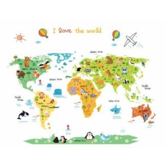 I Love The World wallsticker. Flot verdenskort for børn.