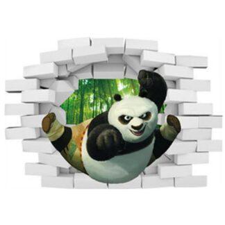 Kung Fu Panda wallsticker. Hul i væggen. 70x50cm.