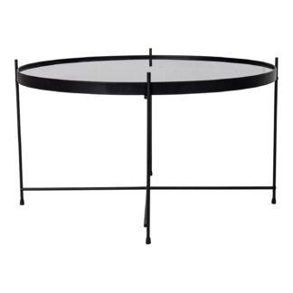 HOUSE NORDIC rund Venezia sofabord - glas og sort stål (Ø70)