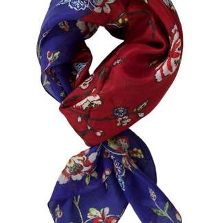 Rødt silketørklæde med blomster