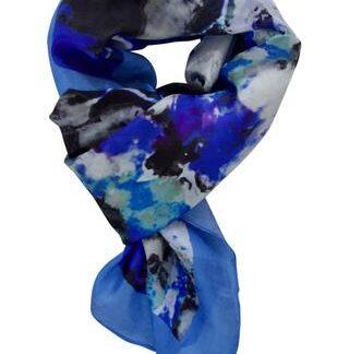 Sort silketørklæde med blå kanter