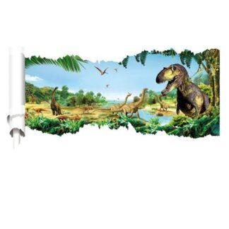 Dinosaurus wallsticker. Revet hul i væggen. 90x50cm.