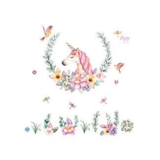 Flot enhjørning wallsticker med blomster, fugle & laurbærkrans.
