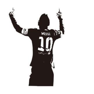 Messi takker de højere magter. Flot fodbold wallsticker. 82x58cm