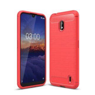 Nokia 2.2 - Gummi cover/etui i Børstet Design - Rød