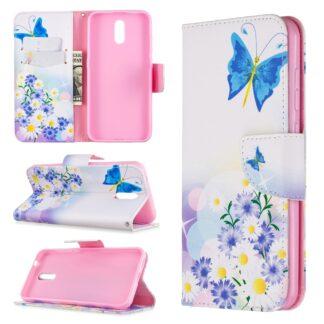 Nokia 2.3 - Læder cover / pung i mønstret design - Blå sommerfugle
