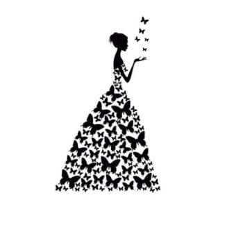 Pige med sommerfuglekjole wallsticker. Stor, og flot wallsticker