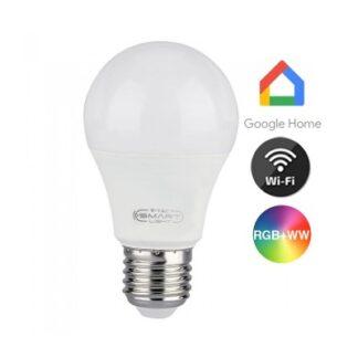 V-Tac 10W Smart Home LED pære - Virker med Google Home, Alexa og smartphones, E27 - Dæmpbar : Dæmpbar, Kulør : Varm-Kold + RGB