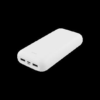 20000mAh Dual USB PowerBank samt USB-C port, hvid