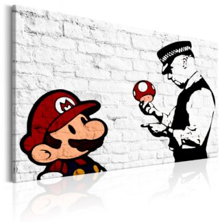 Billede - Banksy on Brick - beige / 120x80