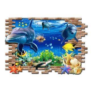 Flot wallsticker med delfiner. Hul i væggen. 97x67cm.