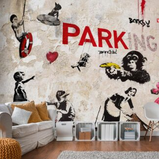 Fototapet - [Banksy] Graffiti Collage - Sort / 300x210