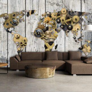 Fototapet - Mechanical World - grå / 300x210