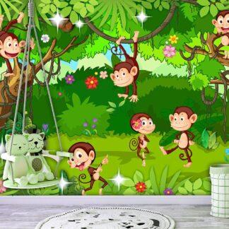 Fototapet - Monkey Tricks - grøn / 300x210