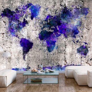 Fototapet - World Map: Ink Blots - violett / 300x210
