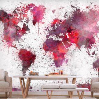 Fototapet - World Map: Red Watercolors - rød / 300x210