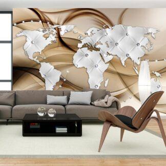Fototapet - World Map - White & Diamonds - brun / 300x210