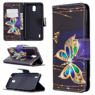 Nokia 1.3 - Mønstret læder cover / pung - Diamant sommerfugl