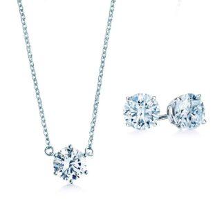 Oxford solitaire smykkesæt sølv