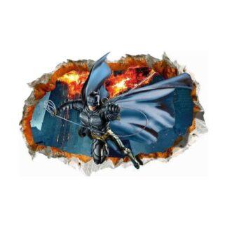Batman wallsticker. Batman svingende igennem et hul i væggen.