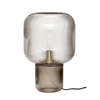 Bordlampe, glas, røget Grå