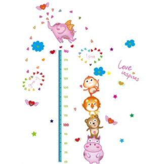 Højdemåler wallsticker. Dyretårn og masser af hjerter. 60-180cm.