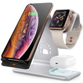 BESTAND - 3-i-1 Trådløs HURTIG oplader til smartphone & Apple Watch + Airpods - Sølv