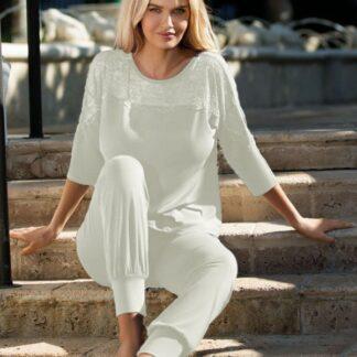 Hvid Loretta bluse m. 3/4 ærmer & lange bukser