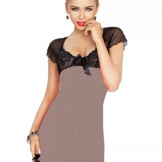 Irina chemise mokka natkjole m. sort blonder & mesh