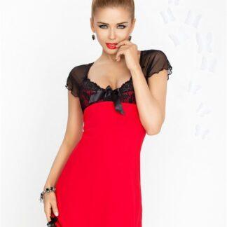 Irina chemise rød natkjole m. sort blonder & mesh