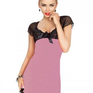 Irina chemise violet natkjole m. sort blonder & mesh