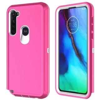 Motorola G Stylus - Shockproof Hybrid cover - Pink/hvid