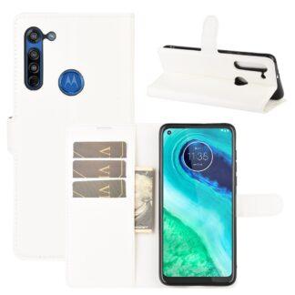 Motorola G8 - Læder cover / pung - Hvid